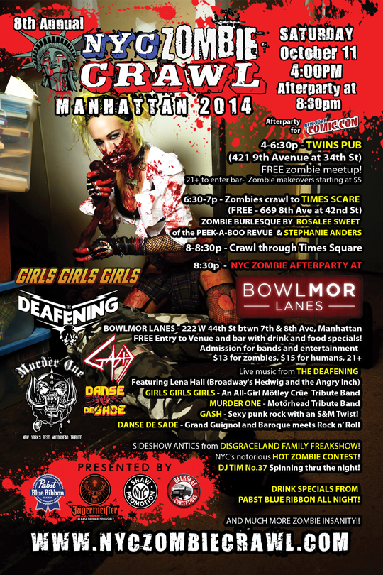NYC Zombie Crawl hits Manhattan Oct 11th!